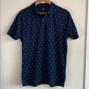 Uniqlo Navy Blue Short Sleeve Polo Shirt Size: XL